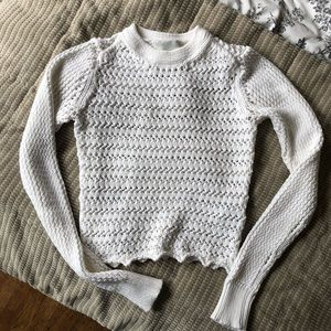 3.1 Phillip Lim White Crochet Knit Sweater Top